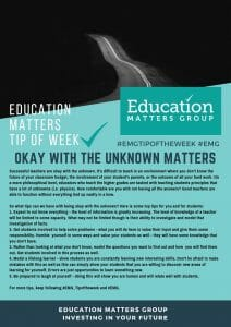 EMG Tip if the week - 20. Okay with the unknown matters
