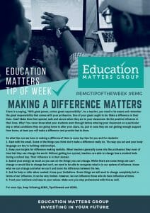 EMG Tip if the week - 27. Making a Difference Matters
