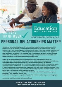 EMG Tip if the week - 28. Personal Relationships Matter