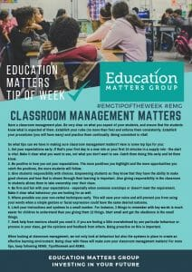 EMG Tip if the week - 36. Classroom Management Matters